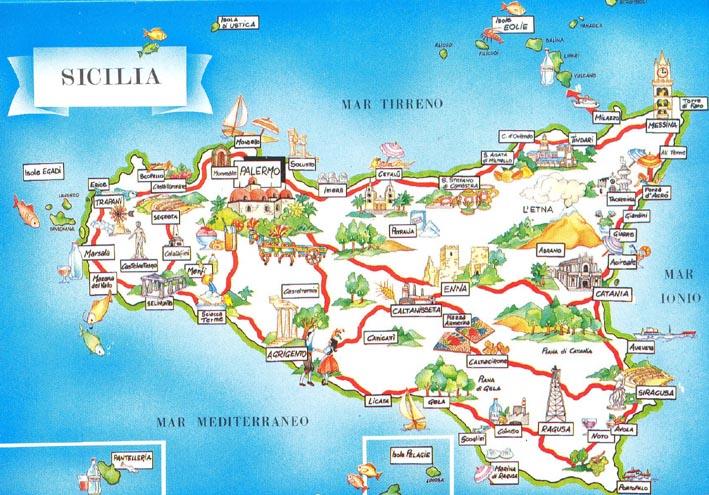 Mappa dalla Sicilia