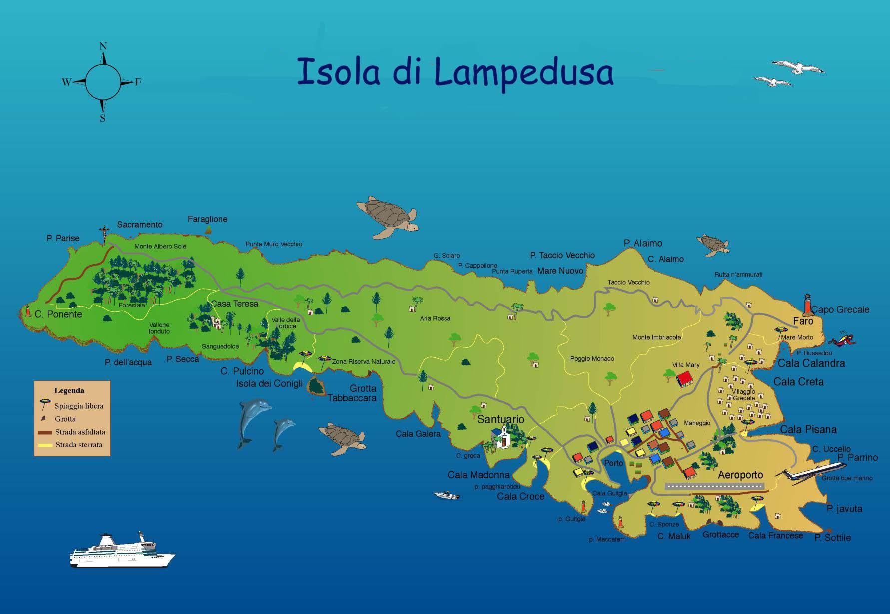 Isole pelagie lampedusa linosa e lampione guida della for Isole da sogno a sud della birmania codycross